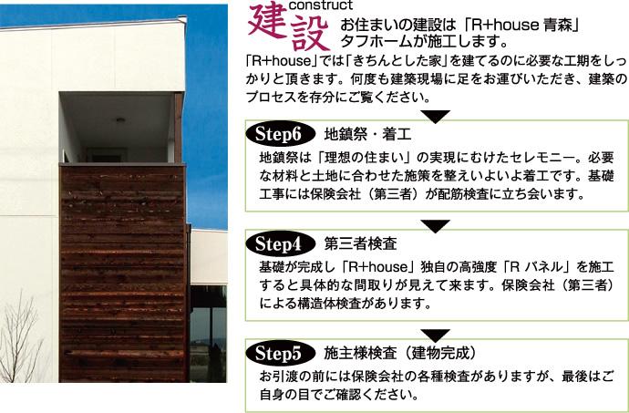 お住まいの建設は「R+house青森」タフホームが施工します。